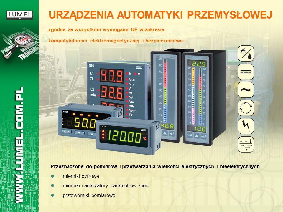 URZĄDZENIA AUTOMATYKI PRZEMYSŁOWEJ zgodne ze wszystkimi wymogami UE w zakresie kompatybilności elektromagnetycznej i bezpieczeństwa Przeznaczone do pomiarów i przetwarzania wielkości elektrycznych i nieelektrycznych mierniki cyfrowe mierniki i analizatory parametrów sieci przetworniki pomiarowe