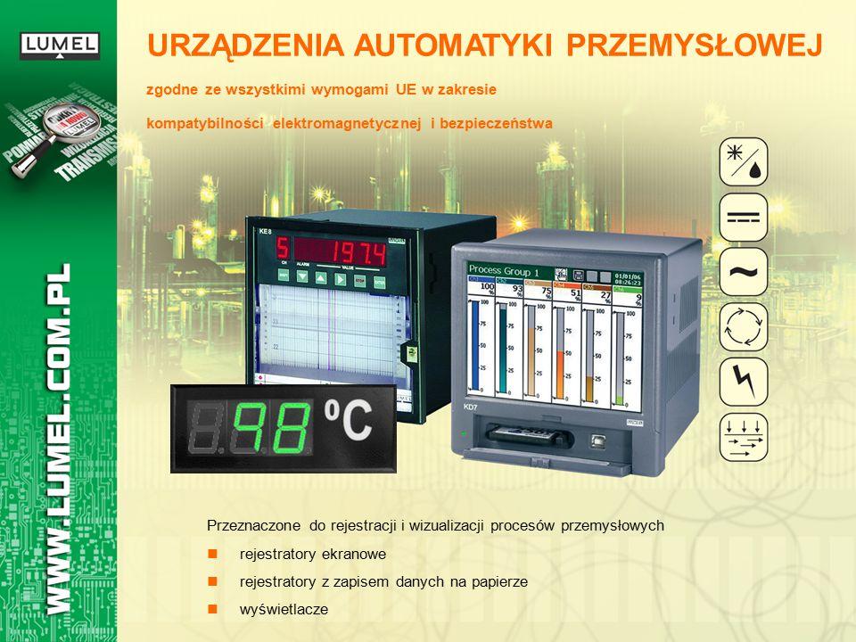 Przeznaczone do rejestracji i wizualizacji procesów przemysłowych rejestratory ekranowe rejestratory z zapisem danych na papierze wyświetlacze URZĄDZENIA AUTOMATYKI PRZEMYSŁOWEJ zgodne ze wszystkimi wymogami UE w zakresie kompatybilności elektromagnetycznej i bezpieczeństwa