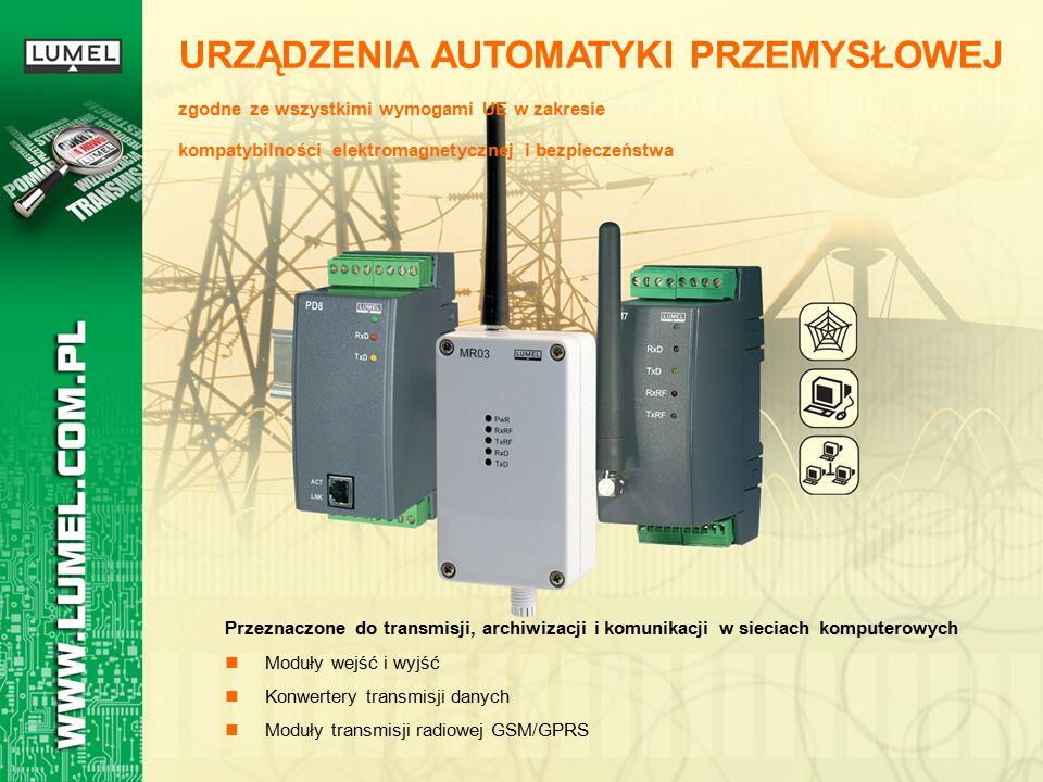 Przeznaczone do transmisji, archiwizacji i komunikacji w sieciach komputerowych Moduły wejść i wyjść Konwertery transmisji danych Moduły transmisji radiowej GSM/GPRS URZĄDZENIA AUTOMATYKI PRZEMYSŁOWEJ zgodne ze wszystkimi wymogami UE w zakresie kompatybilności elektromagnetycznej i bezpieczeństwa