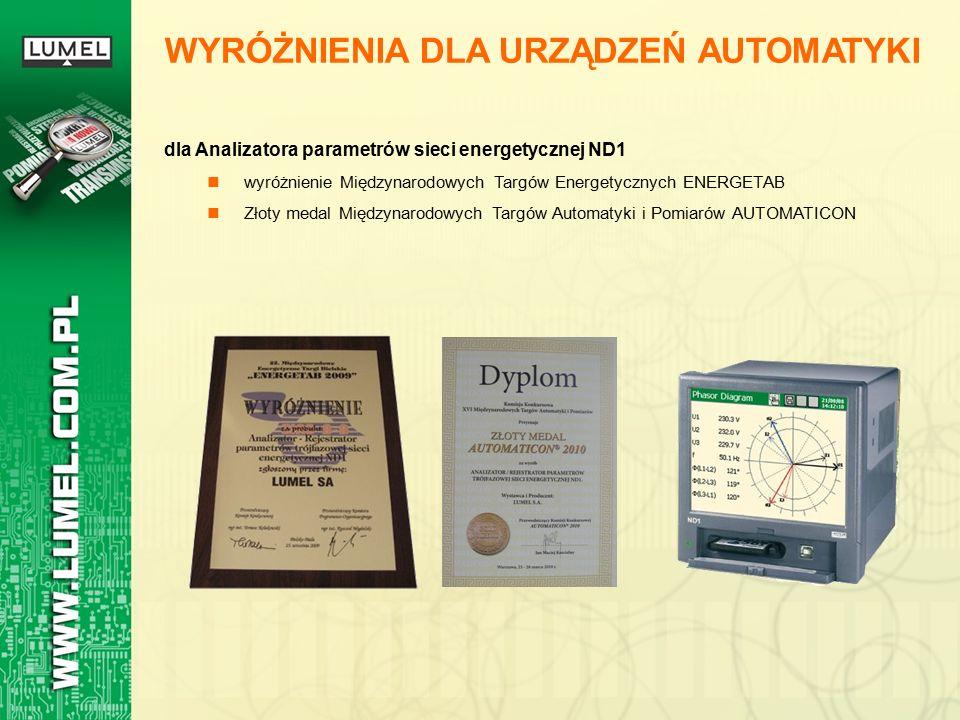 WYRÓŻNIENIA DLA URZĄDZEŃ AUTOMATYKI dla Analizatora parametrów sieci energetycznej ND1 wyróżnienie Międzynarodowych Targów Energetycznych ENERGETAB Złoty medal Międzynarodowych Targów Automatyki i Pomiarów AUTOMATICON