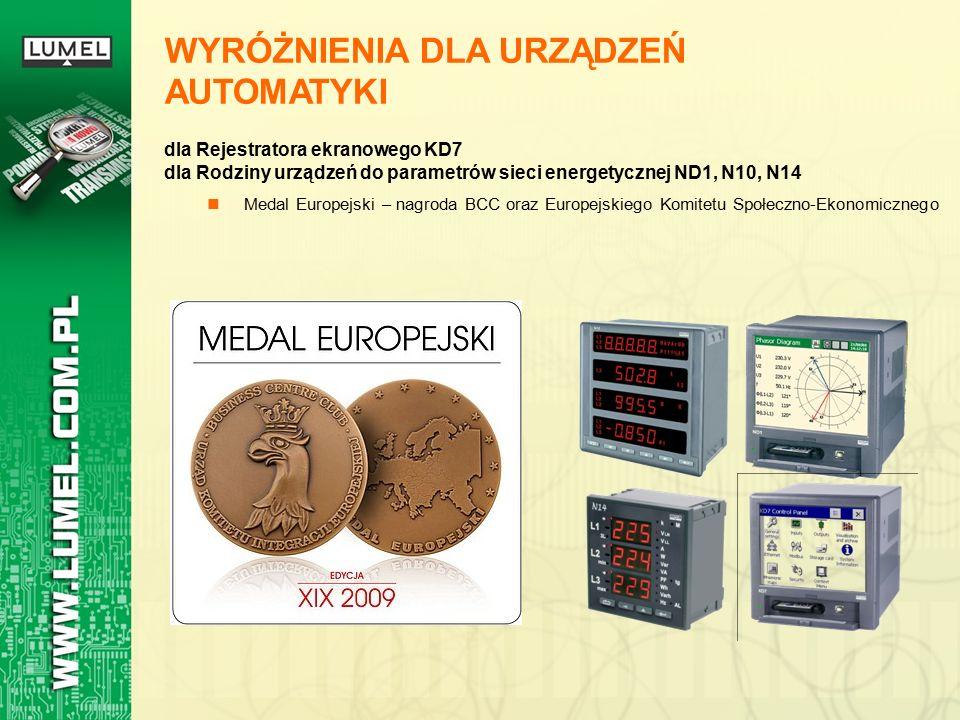 WYRÓŻNIENIA DLA URZĄDZEŃ AUTOMATYKI dla Rejestratora ekranowego KD7 dla Rodziny urządzeń do parametrów sieci energetycznej ND1, N10, N14 Medal Europejski – nagroda BCC oraz Europejskiego Komitetu Społeczno-Ekonomicznego