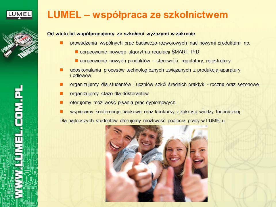 LUMEL – współpraca ze szkolnictwem Od wielu lat współpracujemy ze szkołami wyższymi w zakresie prowadzenia wspólnych prac badawczo-rozwojowych nad nowymi produktami np.