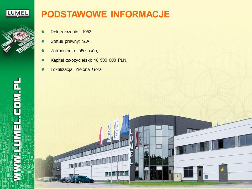 Rok załozenia: 1953, Status prawny: S.A., Zatrudnienie: 560 osób, Kapitał założycielski: 18 500 000 PLN, Lokalizacja: Zielona Góra. PODSTAWOWE INFORMA