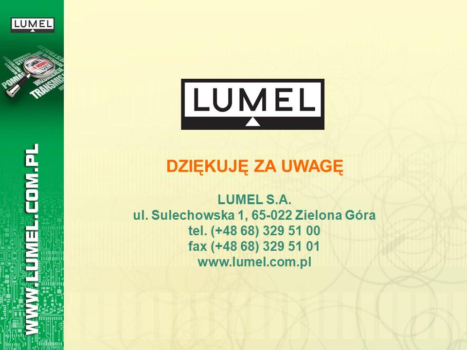 DZIĘKUJĘ ZA UWAGĘ LUMEL S.A. ul. Sulechowska 1, 65-022 Zielona Góra tel. (+48 68) 329 51 00 fax (+48 68) 329 51 01 www.lumel.com.pl