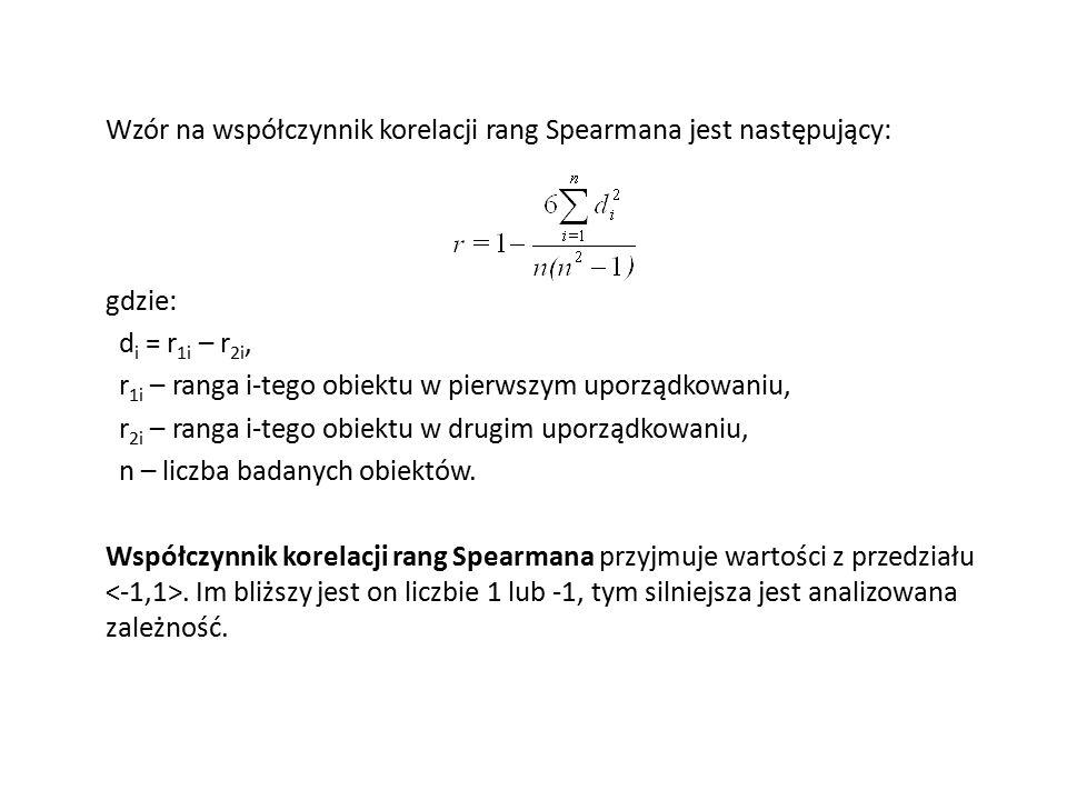 Wzór na współczynnik korelacji rang Spearmana jest następujący: gdzie: d i = r 1i – r 2i, r 1i – ranga i-tego obiektu w pierwszym uporządkowaniu, r 2i – ranga i-tego obiektu w drugim uporządkowaniu, n – liczba badanych obiektów.