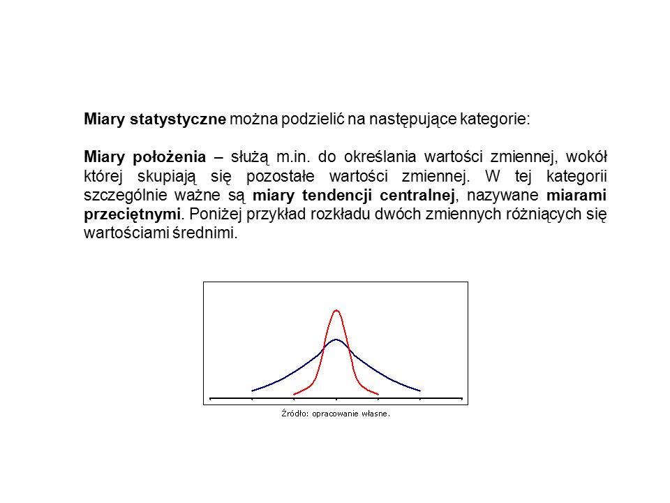 Miary statystyczne można podzielić na następujące kategorie: Miary położenia – służą m.in.