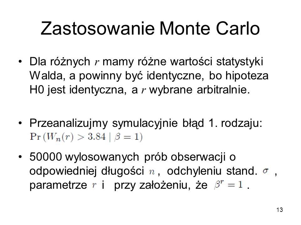 13 Zastosowanie Monte Carlo Dla różnych r mamy różne wartości statystyki Walda, a powinny być identyczne, bo hipoteza H0 jest identyczna, a r wybrane arbitralnie.