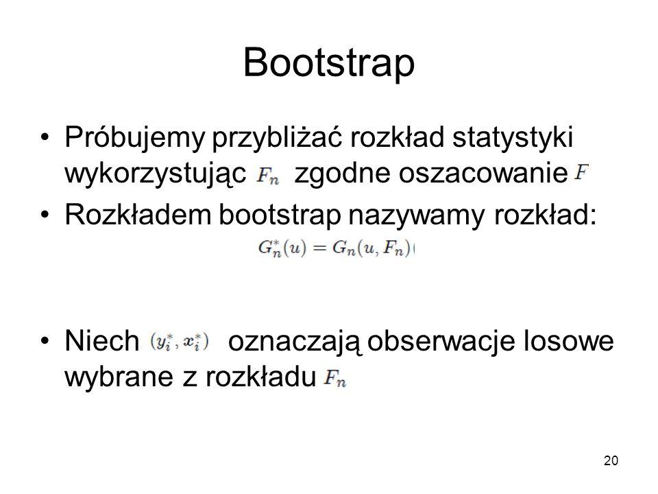 20 Bootstrap Próbujemy przybliżać rozkład statystyki wykorzystując zgodne oszacowanie Rozkładem bootstrap nazywamy rozkład: Niech oznaczają obserwacje losowe wybrane z rozkładu