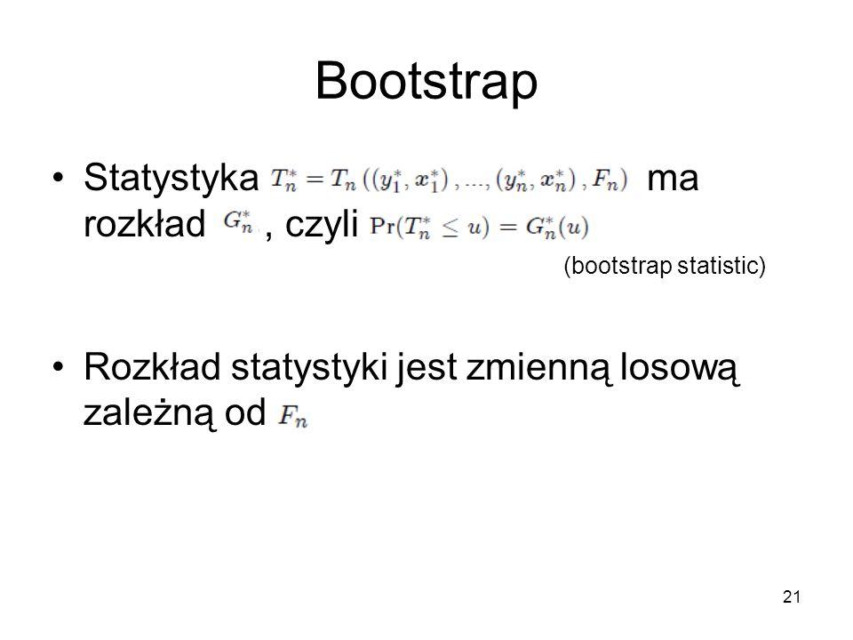 21 Bootstrap Statystyka ma rozkład, czyli (bootstrap statistic) Rozkład statystyki jest zmienną losową zależną od