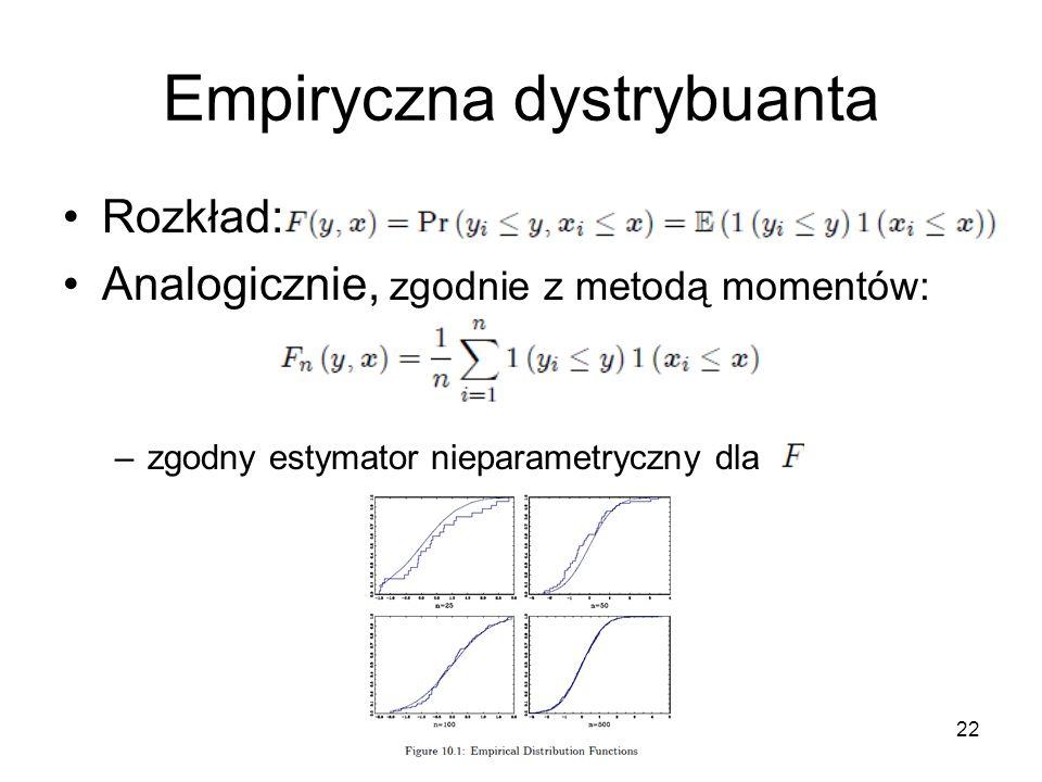 22 Empiryczna dystrybuanta Rozkład: Analogicznie, zgodnie z metodą momentów: –zgodny estymator nieparametryczny dla