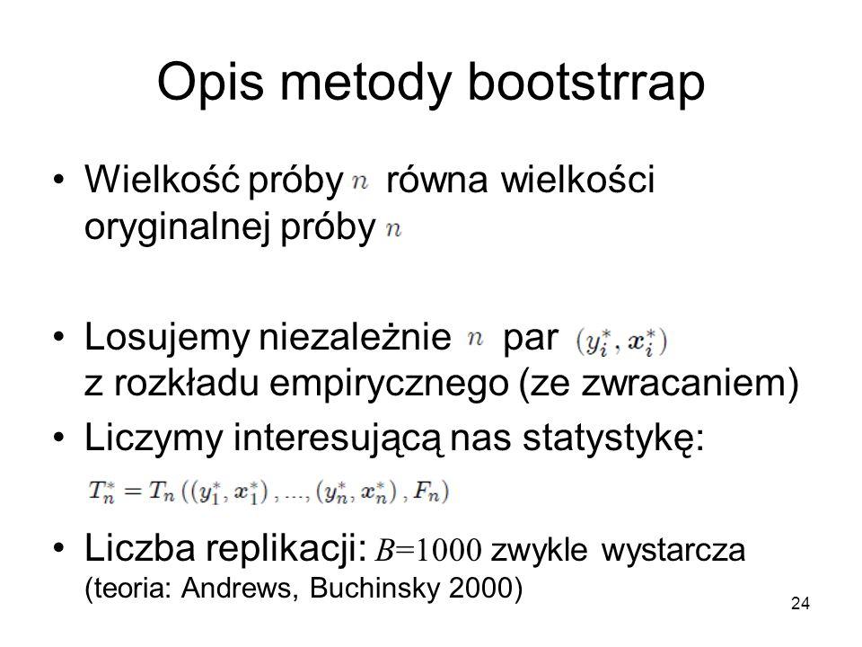 24 Opis metody bootstrrap Wielkość próby równa wielkości oryginalnej próby Losujemy niezależnie par z rozkładu empirycznego (ze zwracaniem) Liczymy interesującą nas statystykę: Liczba replikacji: B=1000 zwykle wystarcza (teoria: Andrews, Buchinsky 2000)