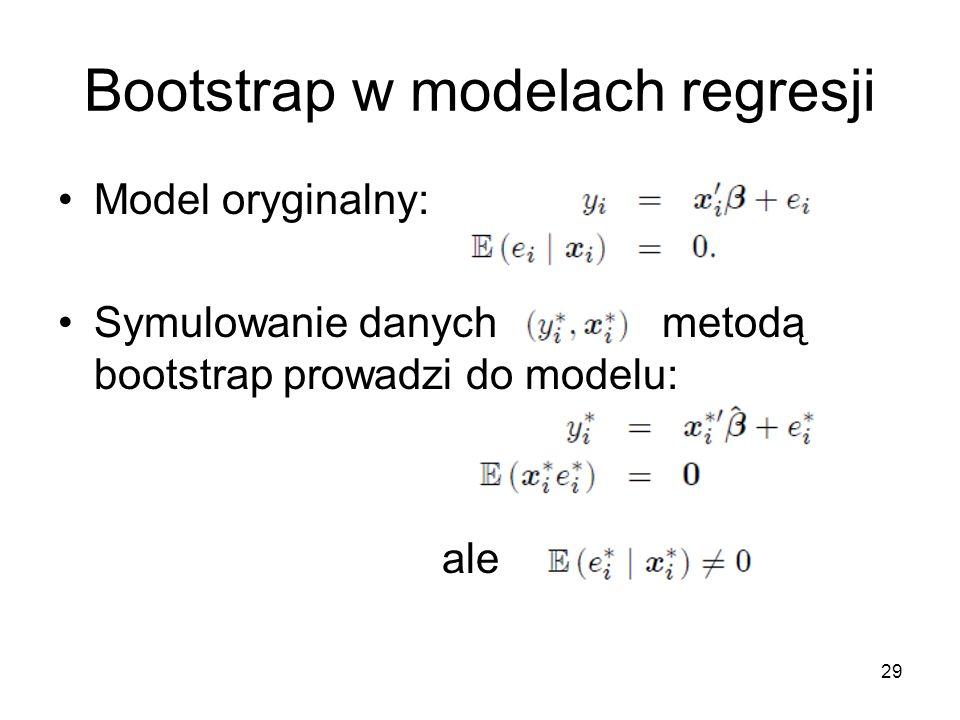 29 Bootstrap w modelach regresji Model oryginalny: Symulowanie danych metodą bootstrap prowadzi do modelu: ale