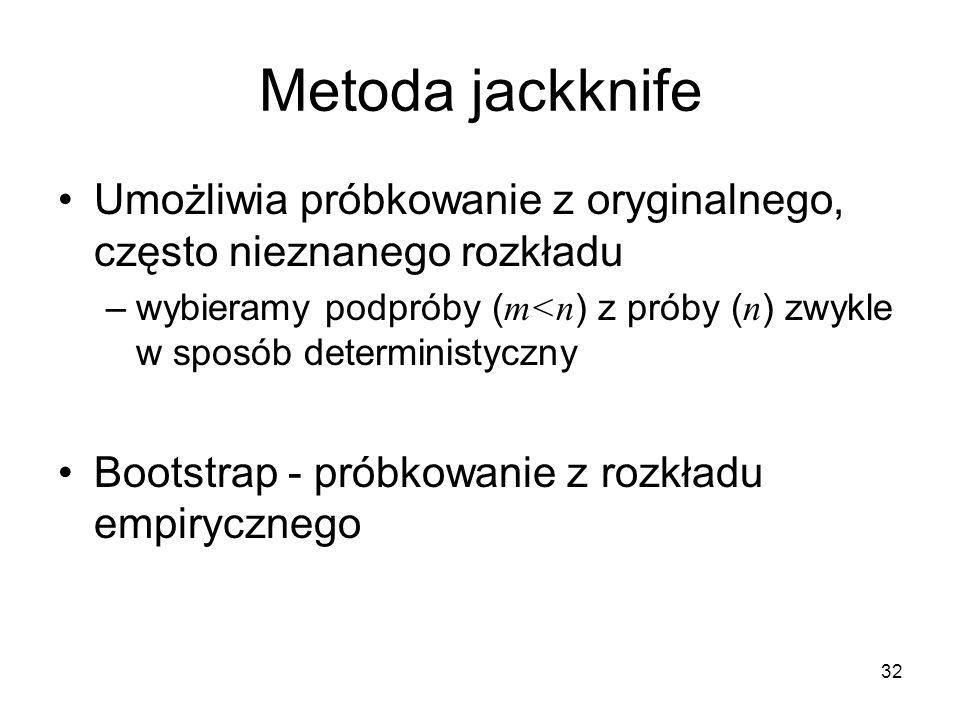 32 Metoda jackknife Umożliwia próbkowanie z oryginalnego, często nieznanego rozkładu –wybieramy podpróby ( m<n ) z próby ( n ) zwykle w sposób deterministyczny Bootstrap - próbkowanie z rozkładu empirycznego