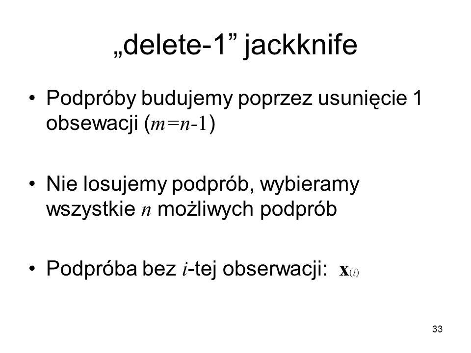 """33 """"delete-1 jackknife Podpróby budujemy poprzez usunięcie 1 obsewacji ( m=n-1 ) Nie losujemy podprób, wybieramy wszystkie n możliwych podprób Podpróba bez i -tej obserwacji: x (i)"""