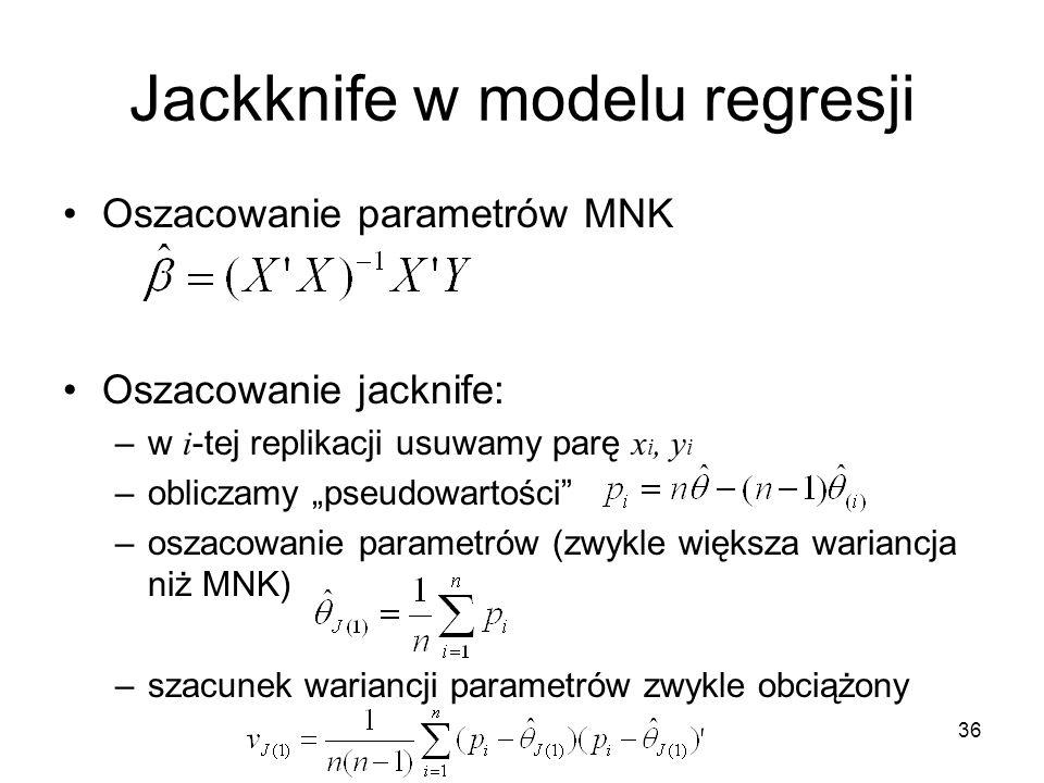 """36 Jackknife w modelu regresji Oszacowanie parametrów MNK Oszacowanie jacknife: –w i -tej replikacji usuwamy parę x i, y i –obliczamy """"pseudowartości –oszacowanie parametrów (zwykle większa wariancja niż MNK) –szacunek wariancji parametrów zwykle obciążony"""