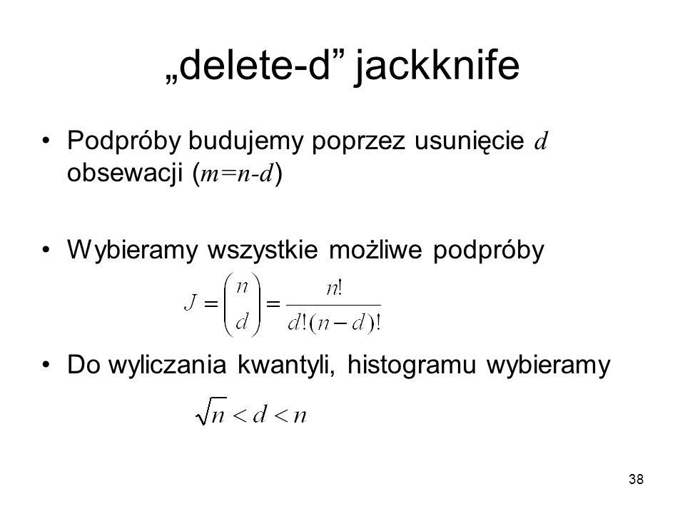 """38 """"delete-d jackknife Podpróby budujemy poprzez usunięcie d obsewacji ( m=n-d ) Wybieramy wszystkie możliwe podpróby Do wyliczania kwantyli, histogramu wybieramy"""