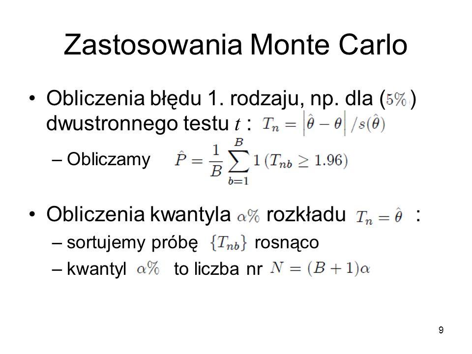 10 Zastosowanie Monte Carlo Precyzja symulacji: –We wcześniejszym przykładzie zmienna losowa ma rozkład Bernoulliego –przyjmuje wartość 1 z prawdopodobieństwem: –jest zatem niebciążonym estymatorem z odchyleniem standardowym Na przykład dla testu z 5% poziomem istotności Dla B =100, 1000, 5000 0,022 ; 0,007 ; 0,003