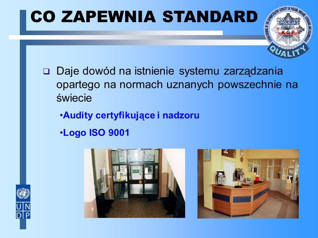  Daje dowód na istnienie systemu zarządzania opartego na normach uznanych powszechnie na świecie CO ZAPEWNIA STANDARD Audity certyfikujące i nadzoru Logo ISO 9001