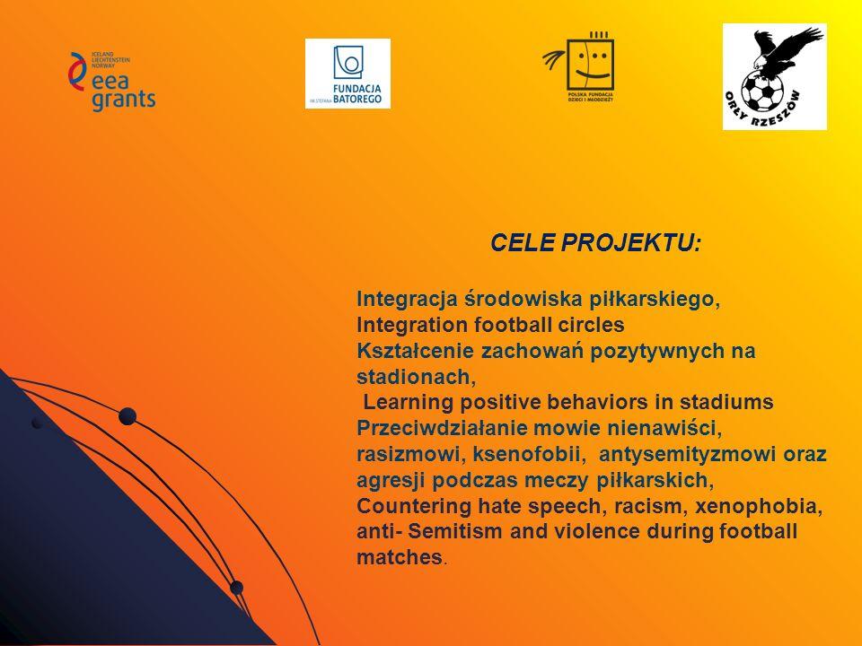 CELE PROJEKTU: Integracja środowiska piłkarskiego, Integration football circles Kształcenie zachowań pozytywnych na stadionach, Learning positive beha