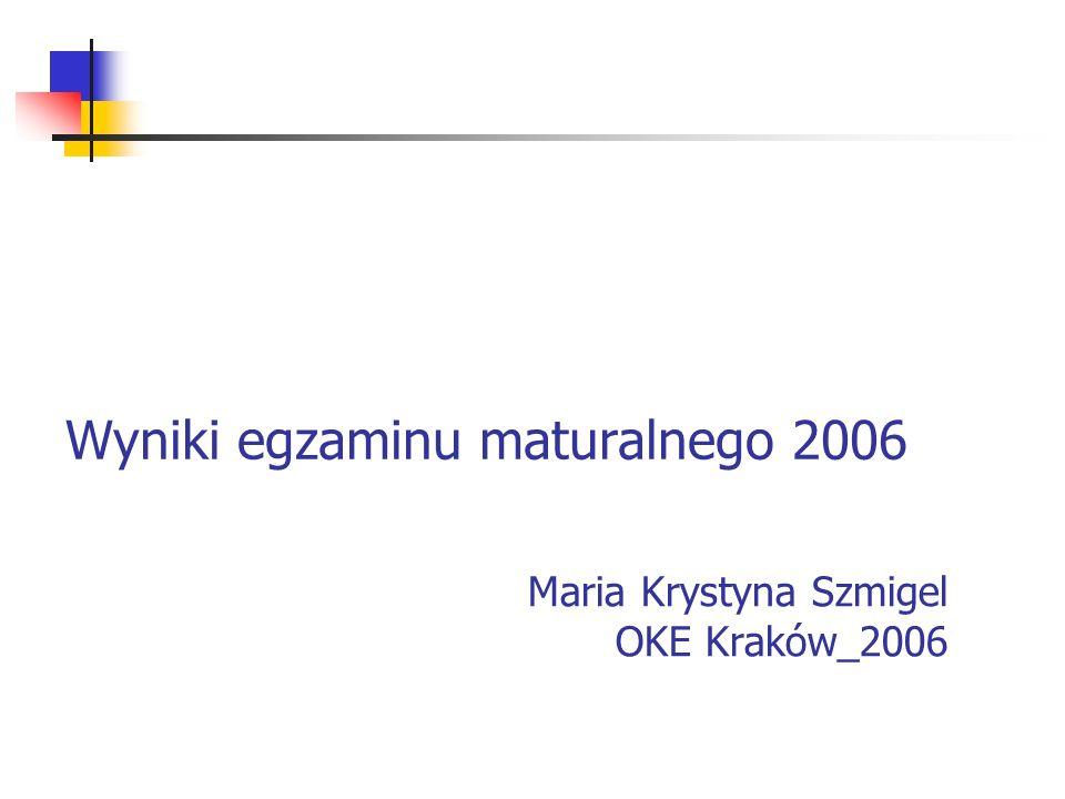 Wyniki egzaminu maturalnego 2006 Maria Krystyna Szmigel OKE Kraków_2006