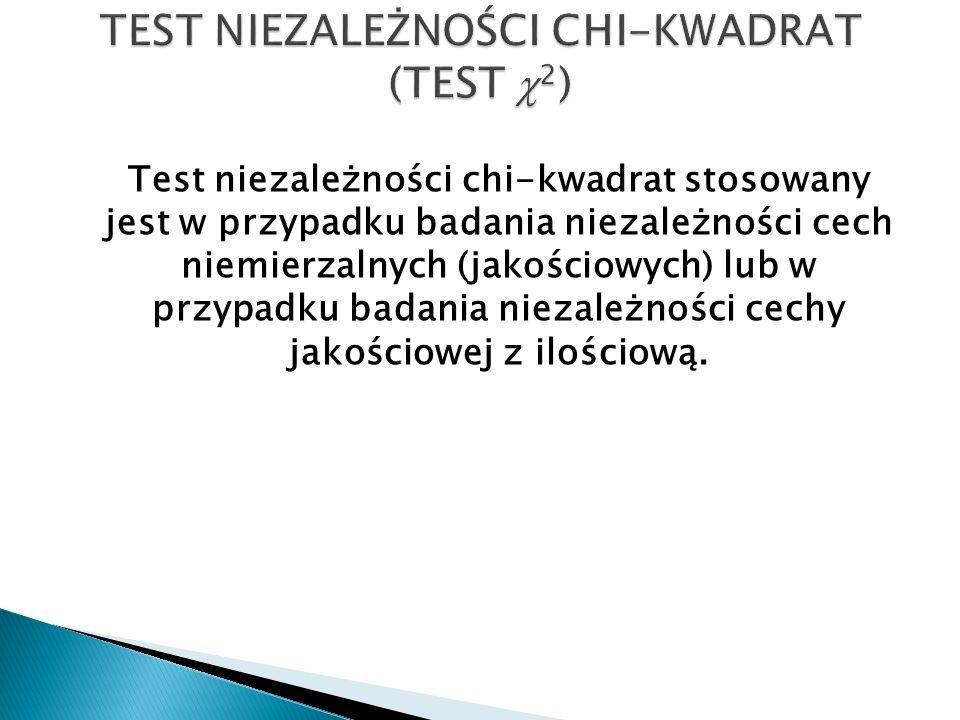 Test niezależności chi-kwadrat stosowany jest w przypadku badania niezależności cech niemierzalnych (jakościowych) lub w przypadku badania niezależnoś