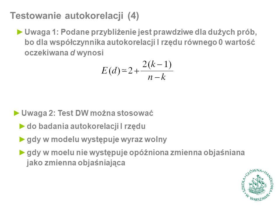 Testowanie autokorelacji (4) ►Uwaga 1: Podane przybliżenie jest prawdziwe dla dużych prób, bo dla współczynnika autokorelacji I rzędu równego 0 wartość oczekiwana d wynosi ►Uwaga 2: Test DW można stosować ►do badania autokorelacji I rzędu ►gdy w modelu występuje wyraz wolny ►gdy w moelu nie występuje opóźniona zmienna objaśniana jako zmienna objaśniająca