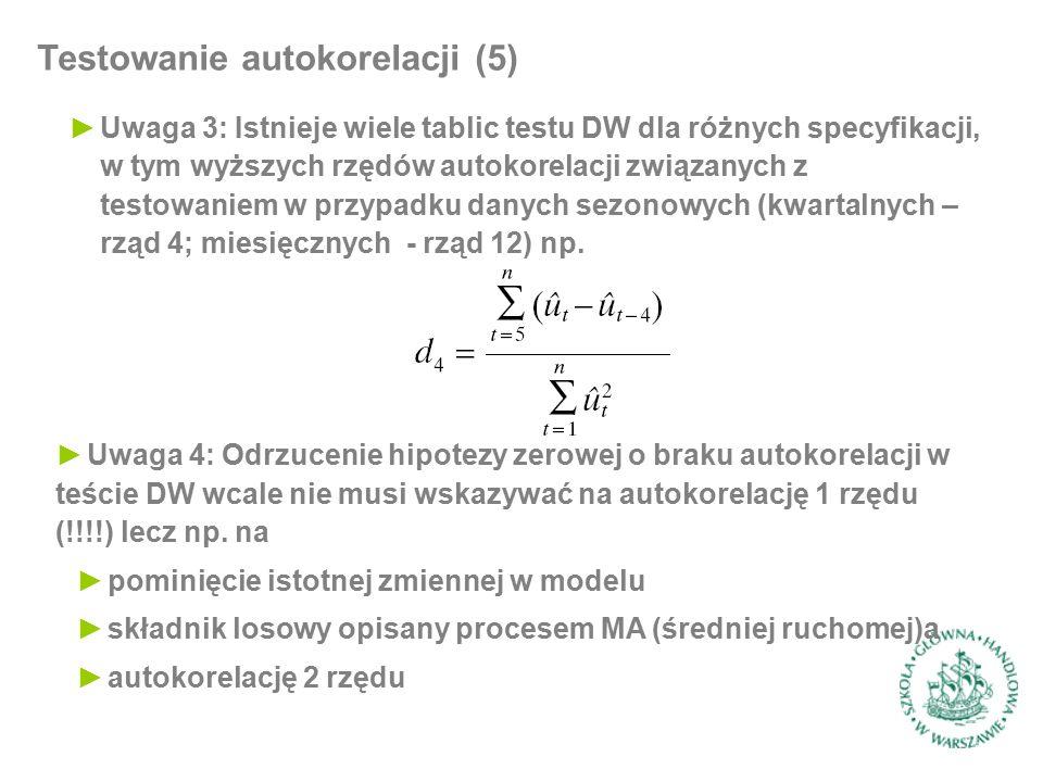 Testowanie autokorelacji (5) ►Uwaga 3: Istnieje wiele tablic testu DW dla różnych specyfikacji, w tym wyższych rzędów autokorelacji związanych z testowaniem w przypadku danych sezonowych (kwartalnych – rząd 4; miesięcznych - rząd 12) np.