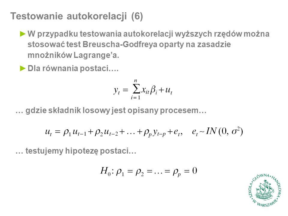 Testowanie autokorelacji (6) ►W przypadku testowania autokorelacji wyższych rzędów można stosować test Breuscha-Godfreya oparty na zasadzie mnożników Lagrange'a.
