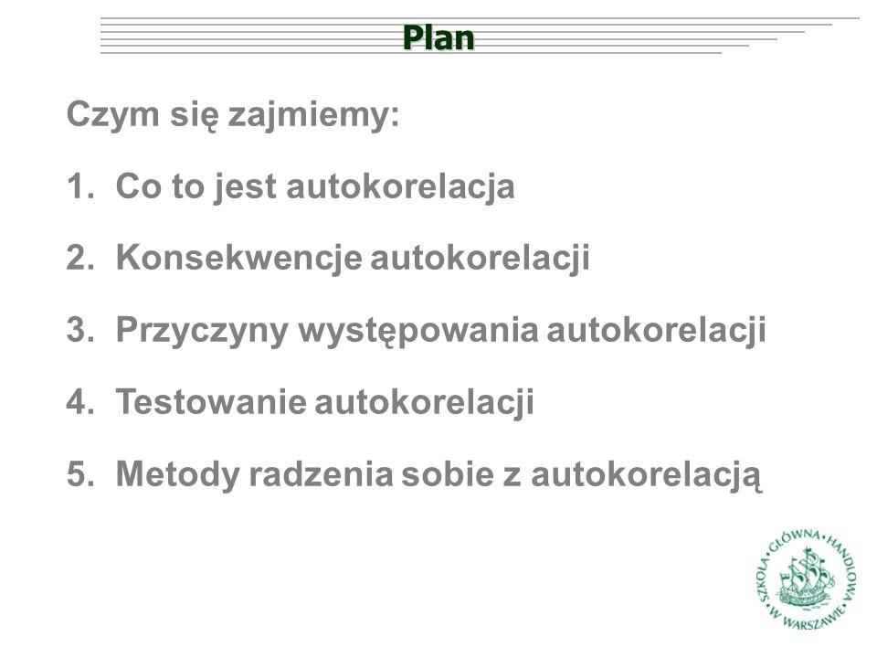 Plan Czym się zajmiemy: 1.Co to jest autokorelacja 2.Konsekwencje autokorelacji 3.Przyczyny występowania autokorelacji 4.Testowanie autokorelacji 5.Metody radzenia sobie z autokorelacją