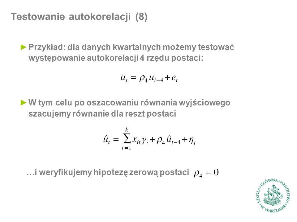 Testowanie autokorelacji (8) ►Przykład: dla danych kwartalnych możemy testować występowanie autokorelacji 4 rzędu postaci: ►W tym celu po oszacowaniu równania wyjściowego szacujemy równanie dla reszt postaci …i weryfikujemy hipotezę zerową postaci
