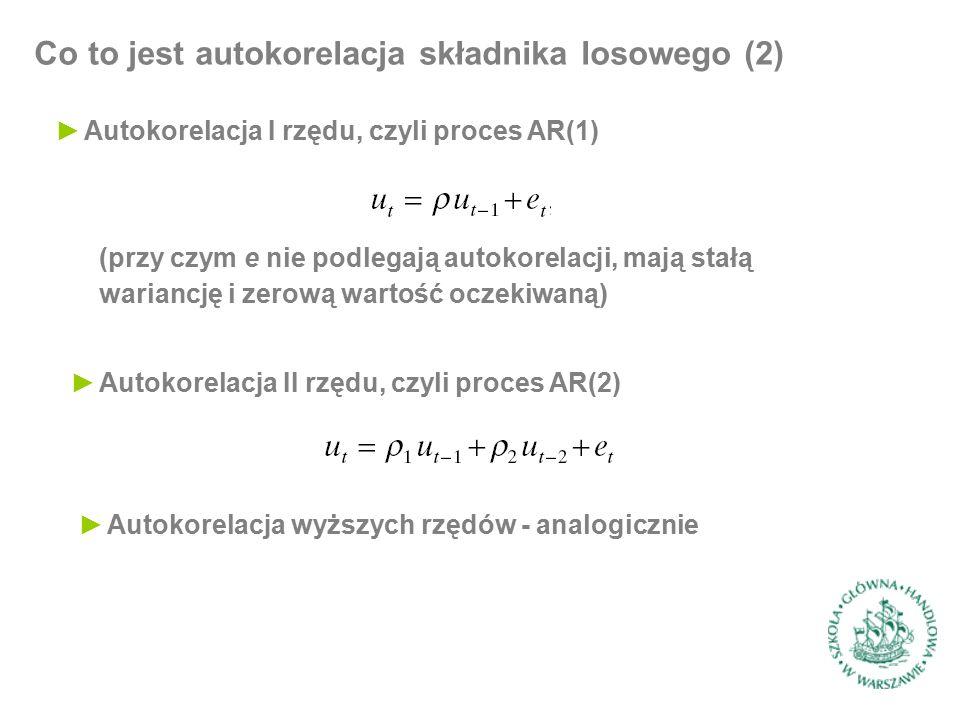 Konsekwencje autokorelacji składnika losowego (1) ►Analizujemy model regresji, w którym stosujemy k zmiennych objaśniających (wyraz wolny stanowi jedną ze zmiennych) postaci… ►…lub w postaci macierzowej