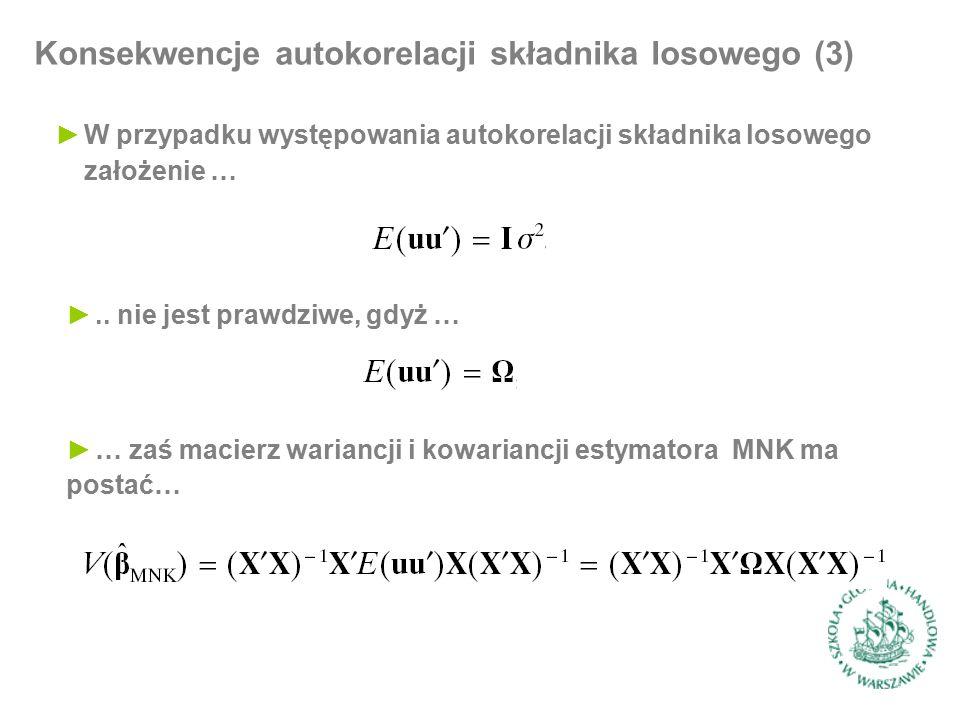 Konsekwencje autokorelacji składnika losowego (3) ►W przypadku występowania autokorelacji składnika losowego założenie … ►..