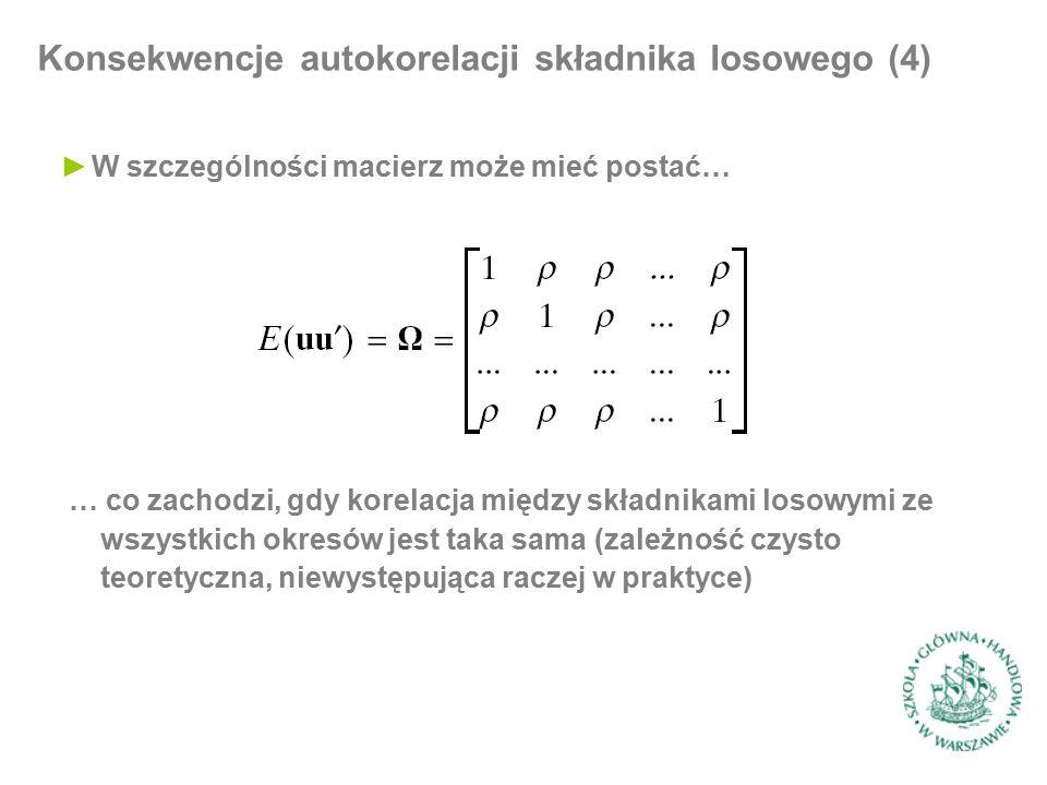 Testowanie autokorelacji (7) ►Postępowanie składa się z trzech kroków: ►I: szacujemy model dla zmiennej objaśniającej bez zakładania postaci procesu dla składnika losowego ►II: na podstawie otrzymanych reszt szacujemy równanie… ►III : obliczamy standardową statystykę F i weryfikujemy hipotezę zerową postaci … korzystając z tego, że przy jej prawdziwości statystyka p*F ma rozkład z p stopniami swobody