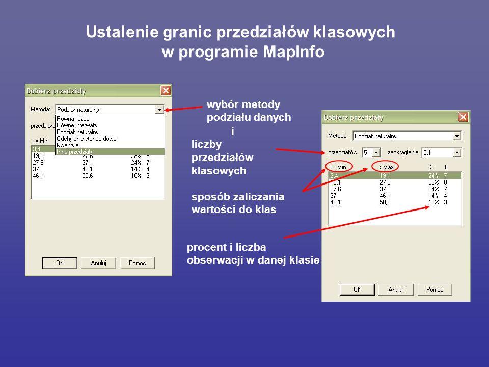 Ustalenie granic przedziałów klasowych w programie MapInfo wybór metody podziału danych i liczby przedziałów klasowych sposób zaliczania wartości do klas procent i liczba obserwacji w danej klasie