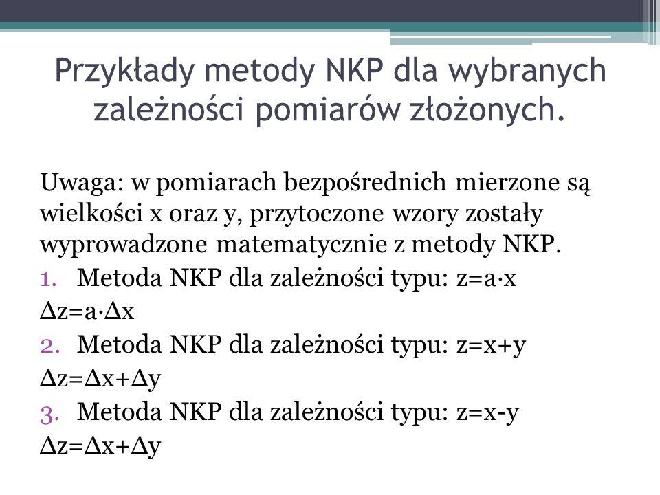 Przykłady metody NKP dla wybranych zależności pomiarów złożonych. Uwaga: w pomiarach bezpośrednich mierzone są wielkości x oraz y, przytoczone wzory z