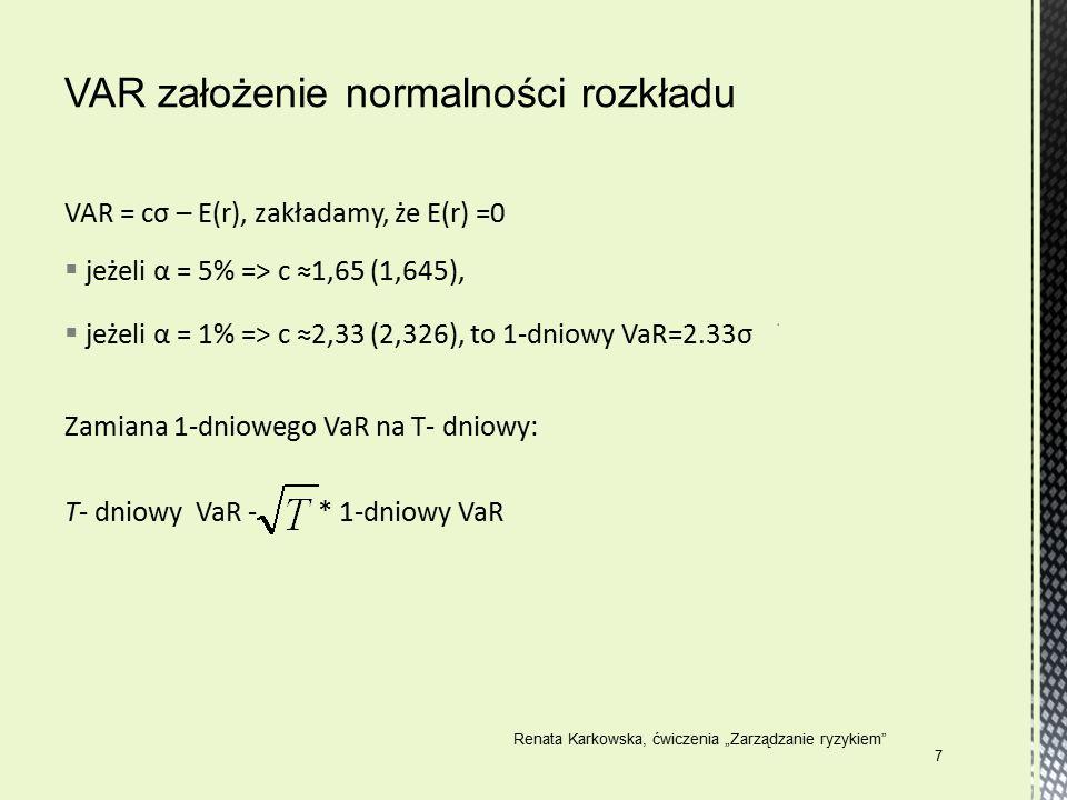 "VAR = cσ – E(r), zakładamy, że E(r) =0  jeżeli α = 5% => c ≈1,65 (1,645),  jeżeli α = 1% => c ≈2,33 (2,326), to 1-dniowy VaR=2.33σ Zamiana 1-dniowego VaR na T- dniowy: T- dniowy VaR - * 1-dniowy VaR Renata Karkowska, ćwiczenia ""Zarządzanie ryzykiem 7"