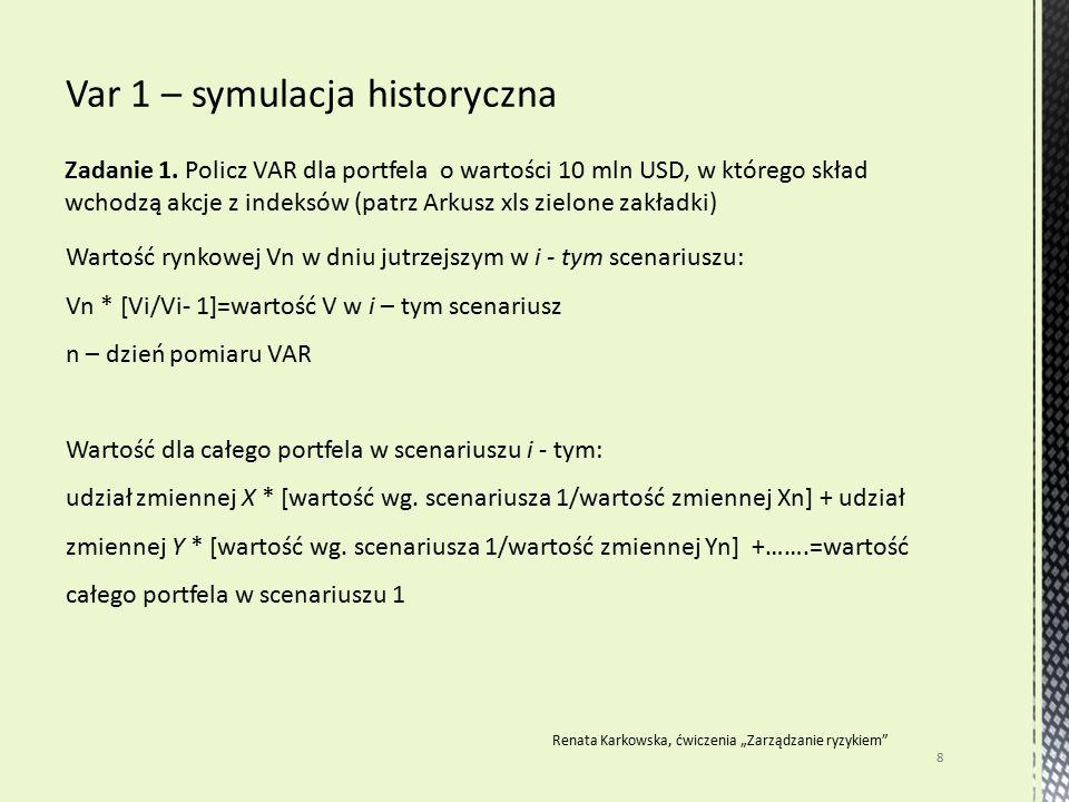 Zadanie 1. Policz VAR dla portfela o wartości 10 mln USD, w którego skład wchodzą akcje z indeksów (patrz Arkusz xls zielone zakładki) 8 Renata Karkow