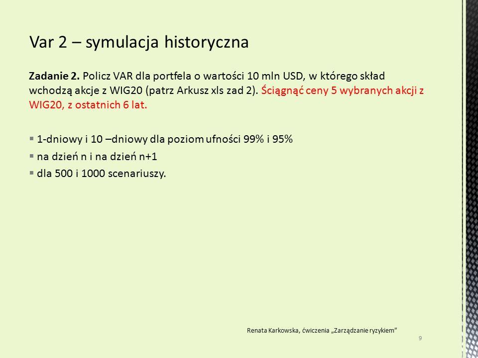Zadanie 2. Policz VAR dla portfela o wartości 10 mln USD, w którego skład wchodzą akcje z WIG20 (patrz Arkusz xls zad 2). Ściągnąć ceny 5 wybranych ak