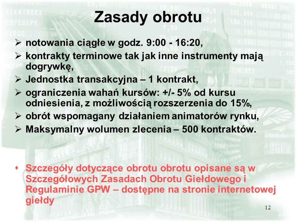 11 Nazwa skrócona FXYZkr gdzie: F - rodzaj instrumentu XYZ - skrót nazwy instrumentu bazowego (określony przez Giełdę ) k - kod określający miesiąc wykonania kontraktu (określony przez Giełdę ) r - ostatnia cyfra roku wykonania Przykład FTPSZ5 – kontrakt terminowy na akcje spółki Telekomunikacja Polska S.A.