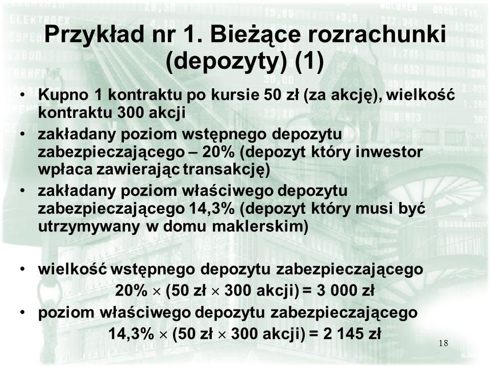 17 Przykład depozytów zabezpieczających (stan na 04.04.2005) Kontrakty terminowe na akcje spółki Minimalny depozyt dla inwestora (% wartości kontraktu) Agora8,1% BZ WBK9,0% Bank PeKaO6,4% BPH PBK8,1% PROKOM11,5% BRE Bank10,1% KGHM13,4% Millennium10,9% PKN Orlen8,4% TP7,3% Aktualna informacja o wielkości depozytów zabezpieczających dostępna jest na stronach internetowej KDPW www.kdpw.com.pl w sekcji IRIPwww.kdpw.com.pl