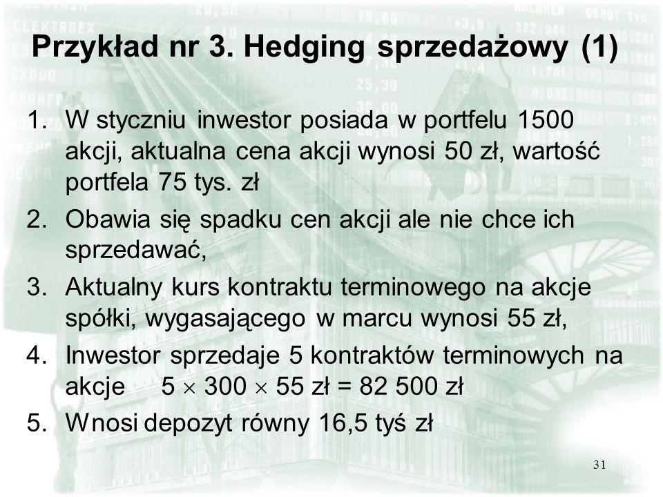 30 Hedging sprzedażowy - short hedge P. DŁUGA STRATA P.