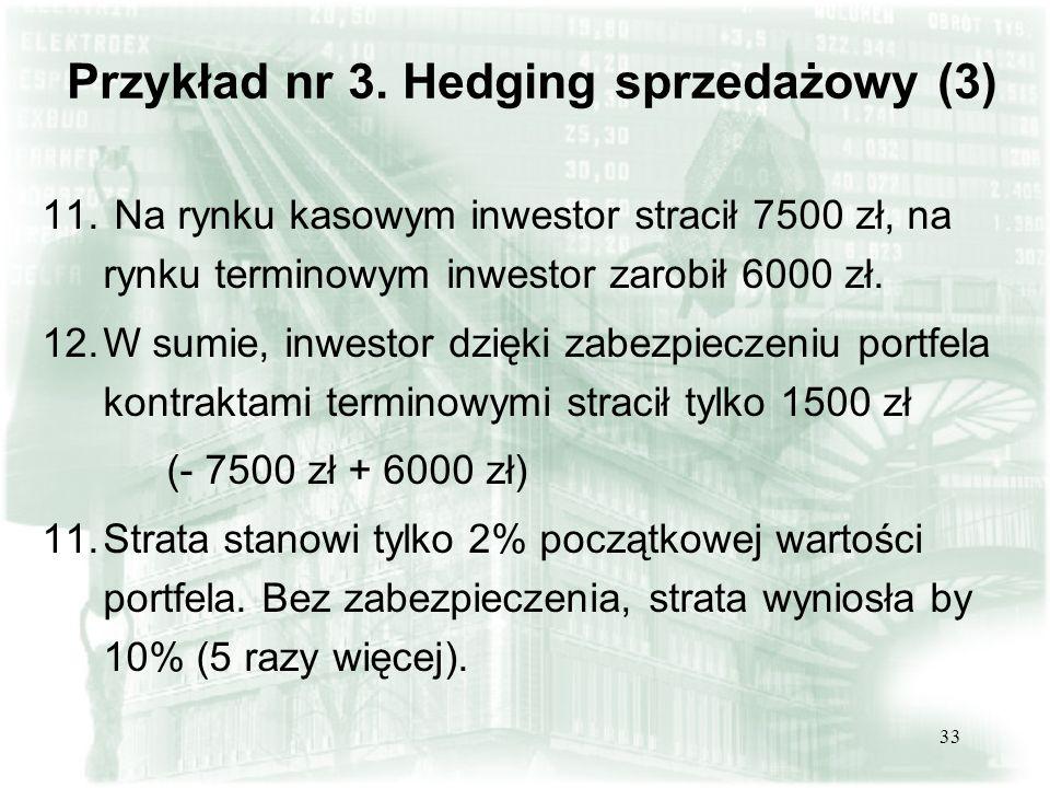 32 Przykład nr 3. Hedging sprzedażowy (2) 6.