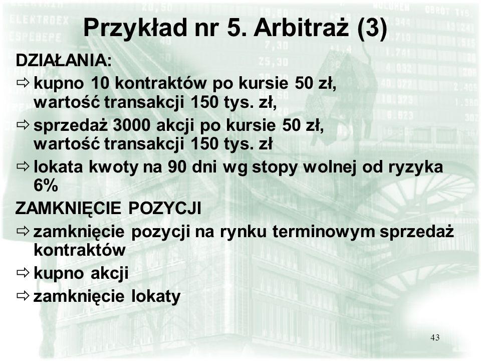 42 Obliczamy wartość teoretyczną kontraktu: kontrakt jest niedowartościowany o 0,75 zł Przykład nr 5.
