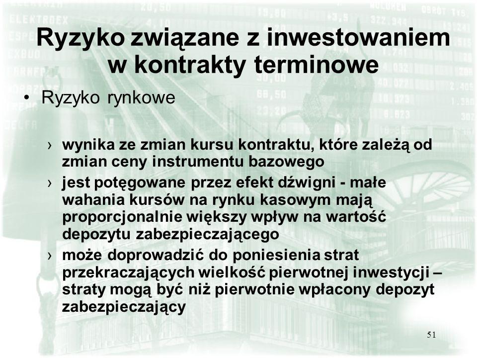 50 Przykład nr 6. Transakcje spreadowe (akcje+indeks WIG20) (3) Inwestor zamyka obie pozycje.