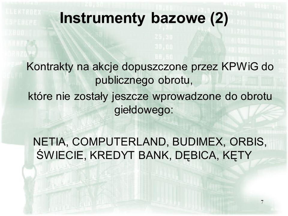 6 Instrumenty bazowe (1) Data wprowadzeniaInstrument bazowy 22 stycznia 2001 r.TP, PKNORLEN, ELEKTRIM* 22 października 2001 r.PEKAO, KGHM, BRE**, AGORA, PROKOM 18 marca 2002 r.BANK BPH** 24 marca 2003 r.BZ WBK, MILLENNIUM** Aktualnie w obrocie znajdują się kontrakty terminowe na akcje 9 spółek.