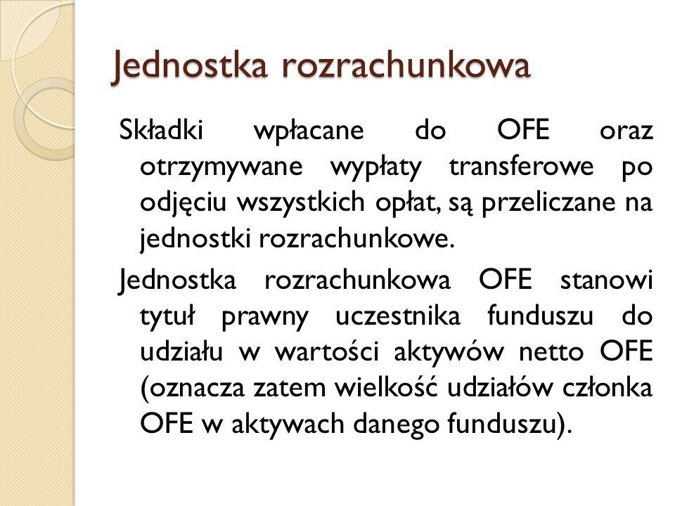 Jednostka rozrachunkowa Składki wpłacane do OFE oraz otrzymywane wypłaty transferowe po odjęciu wszystkich opłat, są przeliczane na jednostki rozrachu