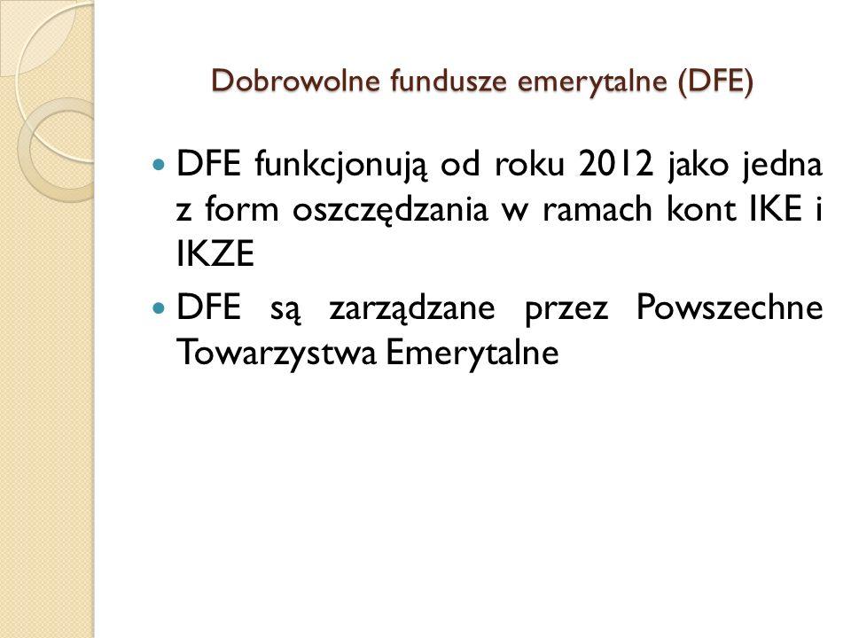 Dobrowolne fundusze emerytalne (DFE) DFE funkcjonują od roku 2012 jako jedna z form oszczędzania w ramach kont IKE i IKZE DFE są zarządzane przez Pows