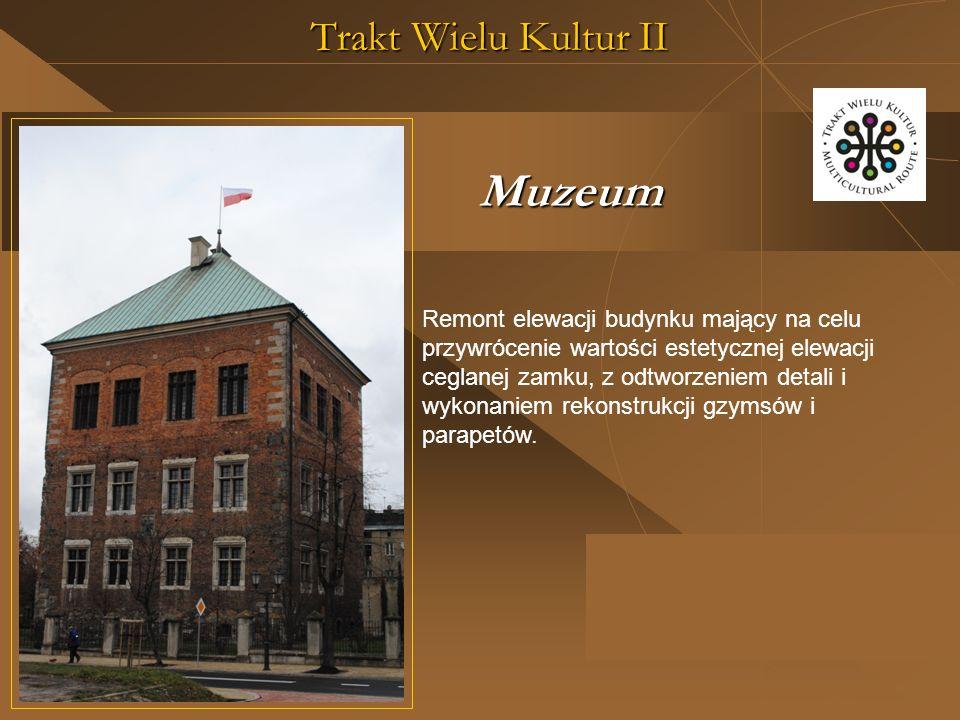 Trakt Wielu Kultur II Remont elewacji budynku mający na celu przywrócenie wartości estetycznej elewacji ceglanej zamku, z odtworzeniem detali i wykonaniem rekonstrukcji gzymsów i parapetów.