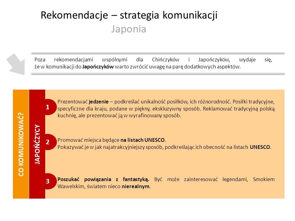 3 Rekomendacje – strategia komunikacji Japonia Poza rekomendacjami wspólnymi dla Chińczyków i Japończyków, wydaje się, że w komunikacji do Japończyków