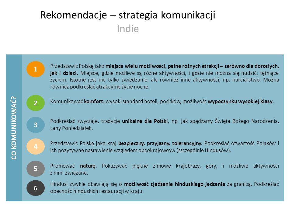 Rekomendacje – strategia komunikacji Indie CO KOMUNIKOWAĆ? 1 Przedstawić Polskę jako miejsce wielu możliwości, pełne różnych atrakcji – zarówno dla do